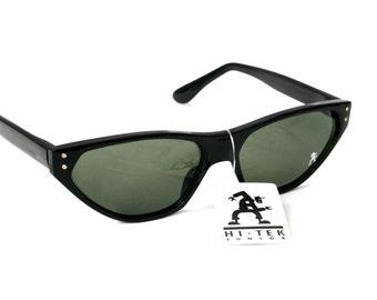 unisex rectangular sunglasses retro black sunglasses cats eyes NOS early 90s
