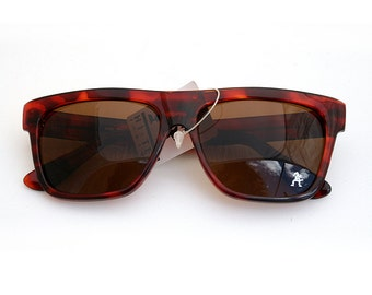Vintage 80's retro rectangular sunglasses large flat top tortoise hipster wayfarer brown sunglasses Hi Tek