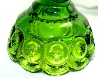 Vintage MOON and Stars Lime Green CANDLE Holder