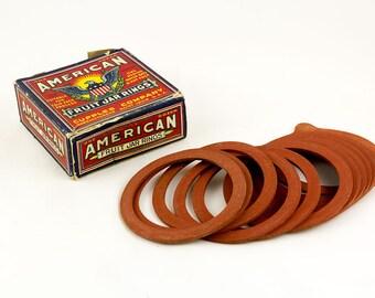 Vintage Fruit jar rings by American in box complete, Made in America St. Louis Missouri