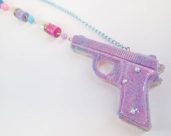CLEARANCE SALE Half OFF Kids With Guns Pastel Sprinkles Resin Pistol Pendant Necklace Bullet Chain Club Cyberpop Pink Blue Fairy Kei Purple