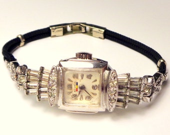 Ladies Art Deco Style, Fancy Benrus ~ Runs & keeps good time, Channel Set Crystals, White Gold Tone, Vintage, Ladies Working Watch, Sparkle
