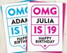 OMG 19th Birthday Speech Bubble Card