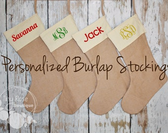 Personalized Christmas Stockings, Cream Canvas and Burlap Holiday Stocking - Name or Monogram Included