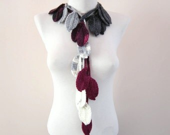 Women Crochet Scarf, Lariat Leaf Jewelry, Leaves Long Necklace, Crocheted Accessories, Women, Christmas Gift, grey purple pink white
