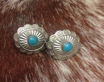 SALE Mexican Southwestern Style Turquoise Screw Backs
