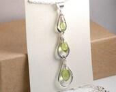 Genuine peridot necklace, Sterling silver triple tear drop necklace, August birthstone necklace, minimalist, cascade teardrop