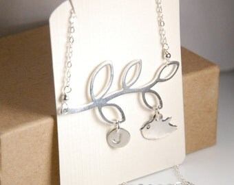 Sterling silver necklace, bird necklace in sterling silver, stamped initials, personalized, chic tree branches neclace