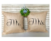 Bride and Groom Pillows | Rustic Wedding | Mr & Mrs. Set of Burlap Pillows - Inserts Included