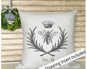 French Vintage Bee Pillow | French Rustic Decor | Throw Pillow | French Country | Farmhouse Home | Cottage Decor | Flea Market