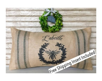 French Country | Farmhouse Decor | French Bee Burlap Pillow - L'abeille - Black Stripe * FREE SHIPPING *