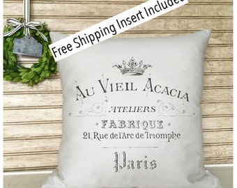 French Rustic Decor | Throw Pillow | French Country | Insert Included | French Provincial
