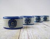 Ken Edwards Napkin Rings - Set of 4 - Blue Flowers - Handpainted - El Palomar Mexico Tonala
