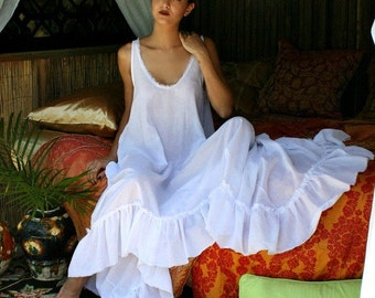 100% Cotton Nightgown Cottage Chic Ruffle White Summer Lingerie Romantic Sleepwear Honeymoon Cruise Beach Lounge Garden