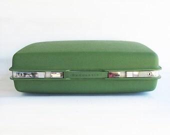 1960s Mod Avocado Green Samsonite Saturn Molded Plastic Suitcase