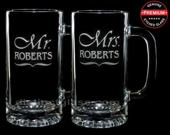 Set of 2 MR. & MRS. WEDDING Beer Mugs - Newlywed, Wedding, Honeymoon Gifts for Couples - Mr and Mr, Mrs. and Mrs. - Ships to Canada