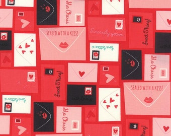 Moda Abi Hall Kiss Kiss Quilt Fabric Valentine Love Letters Red By The 1/2Y