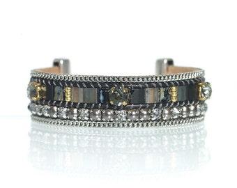 Black leather bracelet with Swarovski pearls - Miyuki tila bead bracelet - hand loomed bracelet - loom woven bracelet - tila bead cuff