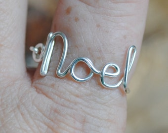 Word Ring, Wire Word Ring Adjustable Wire Wrapped Ring NOEL Silver with Red Bead Non Tarnish Silver Plated Wire