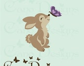 Bunny and butterfly Reusable Fabric decal ,  Removable, reusable and repositionable fabric decal