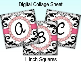1 inch square images alphabet digital collage sheet 1 X 1 printable jewelry craft supplies instant download Damask diamonds (CS 547)