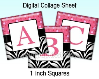 Zebra Pink 1 X 1 inch square images alphabet digital collage sheet printable jewelry craft supplies instant download (CS 531)
