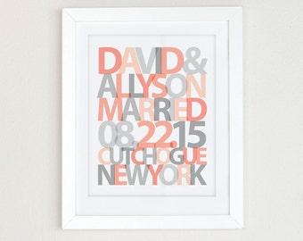 Personalized Wedding Gift Art Print, Custom Wedding Gift, Wedding Gift for Couple, Engagement Gift, Bridal Shower Gift, Anniversary Present