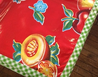 48x48 Sliced Fruit Oilcloth Tablecloth Red with Lime Gingham Trim