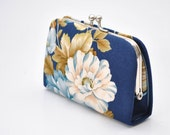 Blooms in Navy -  Mini Coin Purse / Cards holder / Kiss lock purse
