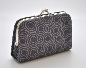 Rings in Slate -  Mini Coin Purse / Cards holder / Kiss lock purse