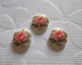 Vintage Decal Picture Stones - Pink Rose on White Cameo -  10mm Round Glass Cabochons - Qty 6