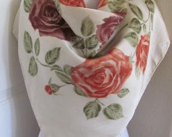"Vintage Beige Floral Soft Silk Scarf  - 30"" x 30"" Square"