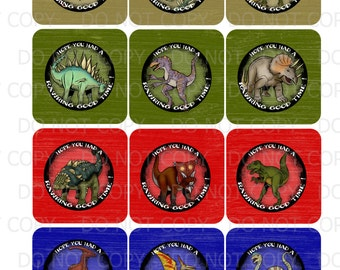 Printable Dinosaur Theme Favor Tags - INSTANT DOWNLOAD