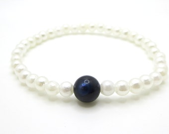 Freshwater blue pearl stretch bracelet faux pearls