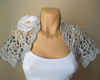 SALE Women SHRUG  BOLERO / Wedding Bridal Accessories Jacket Chic Crochet Cape / Bridesmaid Elegant Brooch Hand Knitted Capelet Gift Summer