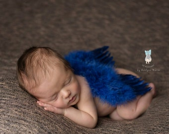 Navy Feather Wings, Baby Wings, Baby Boy Prop, Newborn Photo Prop, Photography Prop, Wings