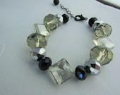 Black and Crystal Bead Bracelet
