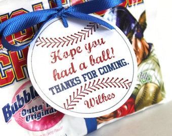Baseball party tags, vintage baseball, baseball birthday party, baseball favor tag, baseball party favor, embellishment