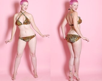 DEADSTOCK 1960's Savage Bombshell Leopard Print 2 Piece Lowrise Bikini w/ 4 Way Straps & Cut Out Rings by ParForm Originals - Tiki Oasis - M