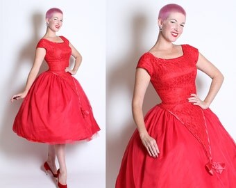 DESIGNER 1950's New Look Cherry Red Chiffon & Lace Over Satin Party Dress w/ Satin Trim, Bow and Deep V Waist by Emma Domb of California - L