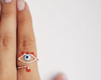 evil eye ring- sterling silver- free shipping