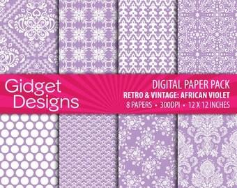 Purple Digital Paper Pack Damask Patterns Scrapbook Paper Printable Paper