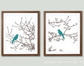 Modern Birds on Branches Wall Art Prints -  Birds on Magnolia Tree Prints - Taupe branches and Teal birds - set of 2 prints - choose colors
