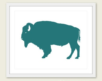 Buffalo Art Print - Buffalo Wall Art - Modern Buffalo Art - Rustic Buffalo Print - Dark Teal Art - Buffalo Poster - Aldari Art