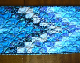 Light Blue and Teal Bargello Table Topper