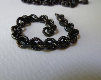 Vintage Chain Extender - Black Cable - Strong Sturdy Closed Oval Heavy Links - 9x8mm