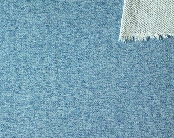 Ocean Blue Heathered French Terry Knit Sweatshirt Fabric, 1 Yard