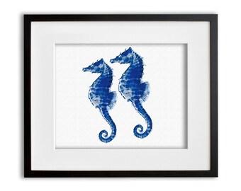 Blue Seahorse Art Print Watercolor Wall Art 8x10 or 11x14