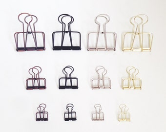 binder clips , gold / silver / black / copper / rose gold / vintage brass / mint / purple