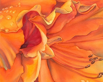 Giclee Print of a Watercolor Painting, watercolor, painting, azalea, orange, flower, floral, garden, gardener, gift, petals, bloom, blossom